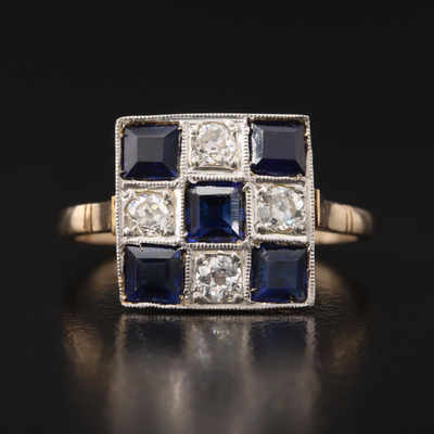 Vintage 18K and Platinum Sapphire and Diamond Ring