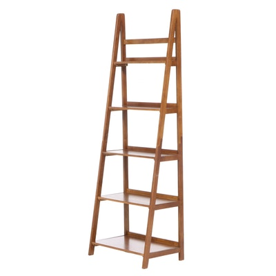 Linon Home Decor Products Hardwood Five-Shelf Ladder Bookcase