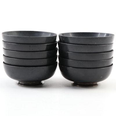 Towle Melamine Individual Salad Bowls with Sterling Silver Bases, 1960s