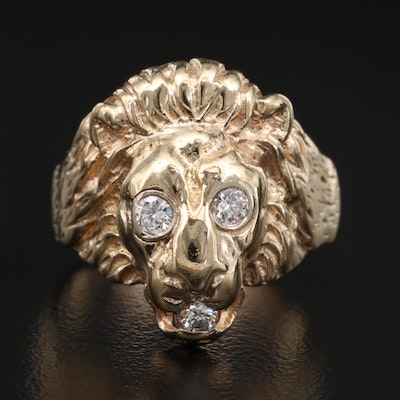 14K Diamond Lion Ring