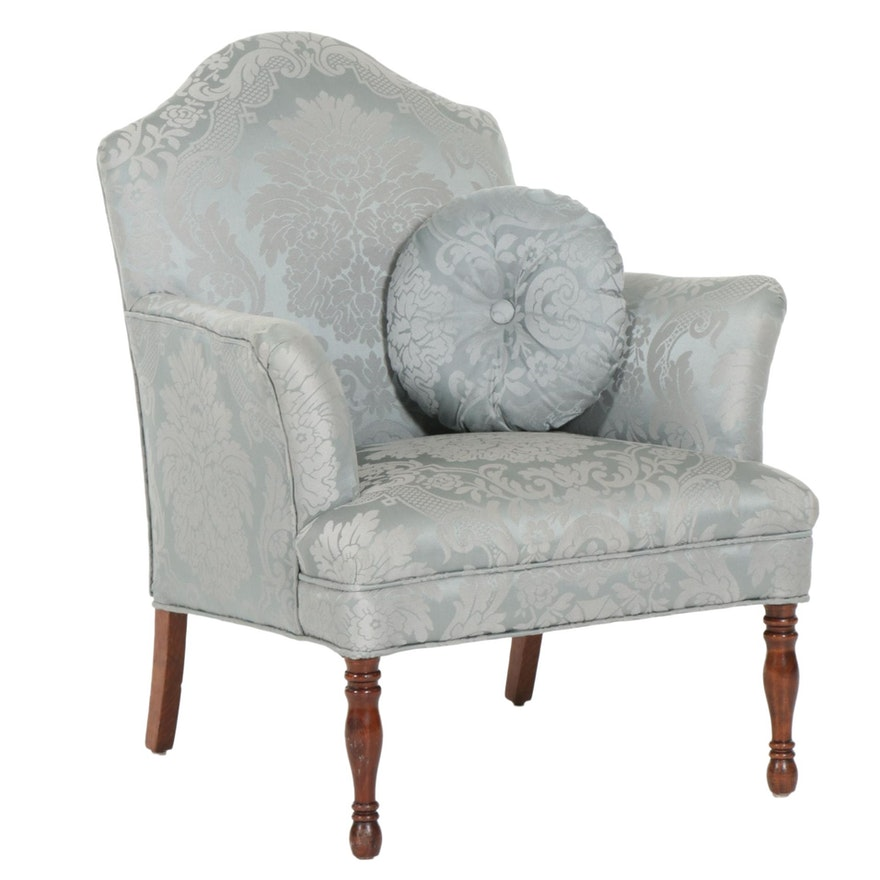 Federal Style Upholstered Armchair with Accent Pillow, Late 20th Century