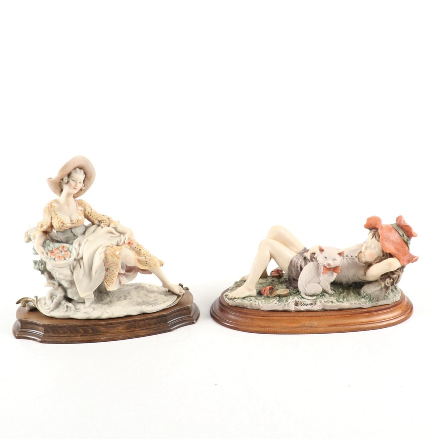 Capodimonte G.Armani Porcelain Woman in Garden and Girl with Cat Figurines