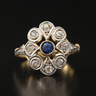 Victorian 14K Sapphire and Diamond Ring with Platinum Accent
