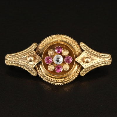 Victorian 14K Aquamarine and Garnet Brooch