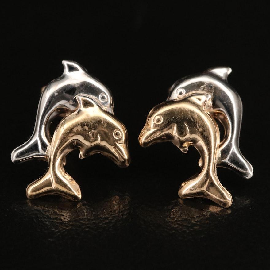 10K Double Dolphin Stud Earrings