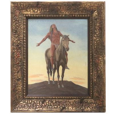 Oil Painting of Native American Man on Horseback, Mid-20th Century