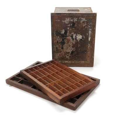 Painted Metal Cabinet with Wooden Letterpress Trays, Early 20th Century