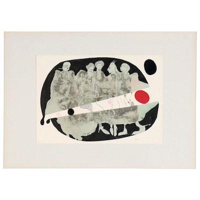 Eduardo Oliva Surrealist Figural Mixed Media Assemblage
