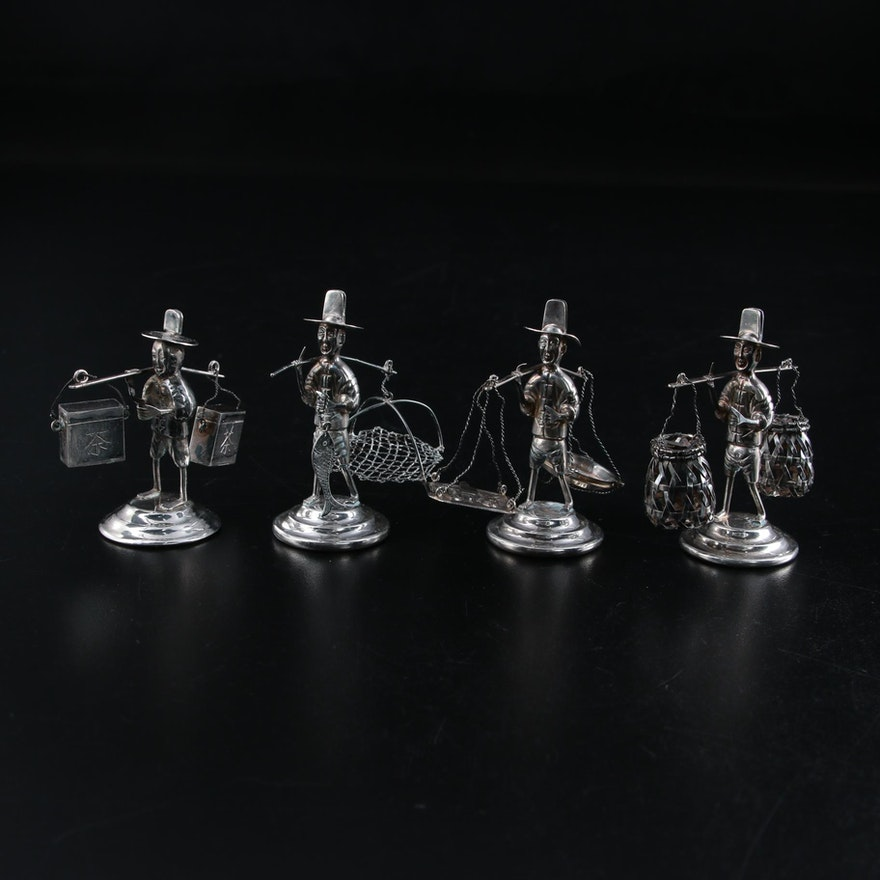 Wai Kee Chinese Sterling Silver Card Holder Fisherman Figurines