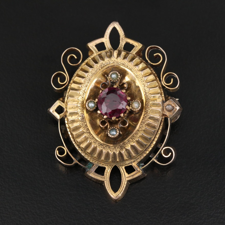 Victorian 10K Garnet and Pearl Brooch