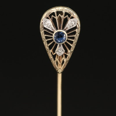 Vintage 14K Sapphire Stick Pin with Platinum Accents