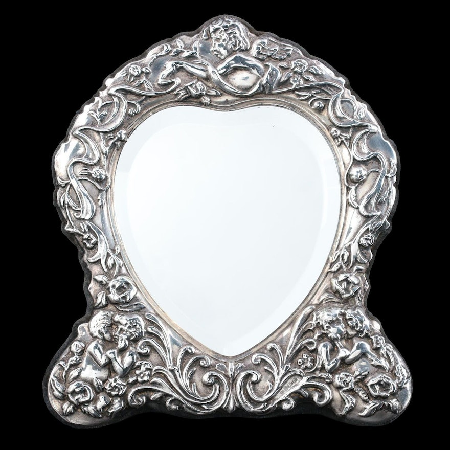 Carr's of Sheffield Repoussé Sterling Silver Tabletop Mirror, 1994