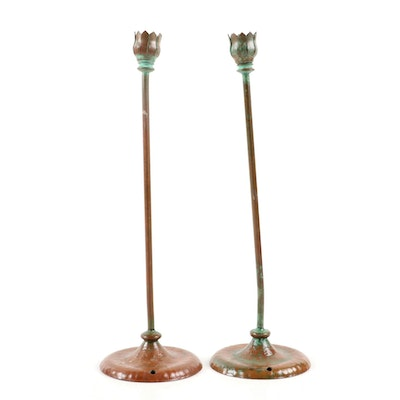 Pair of Patinated Metal Candleholders, Mid to Late 20th Century