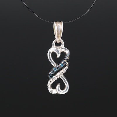 Sterling Double Heart Diamond Pendant