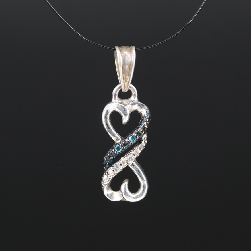 Sterling Double Heart Diamond Pendant