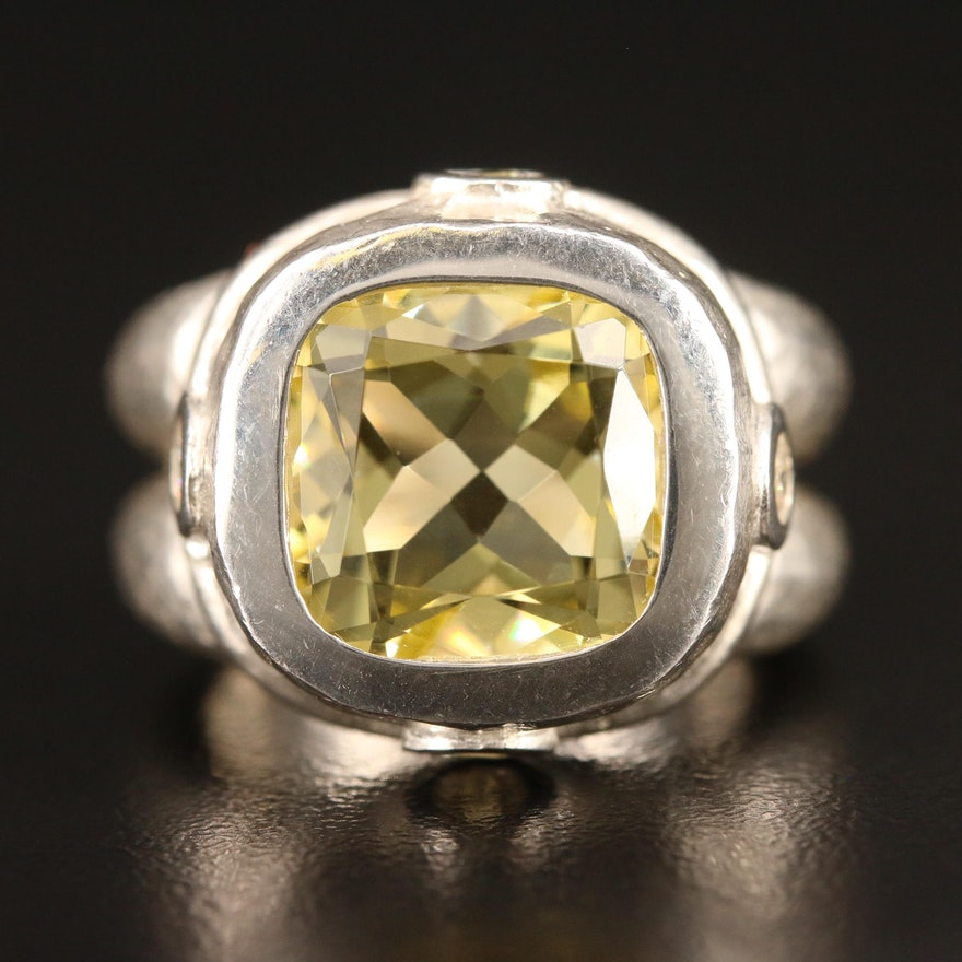 SeidenGang Sterling Silver Citrine Ring with Hammered Finish