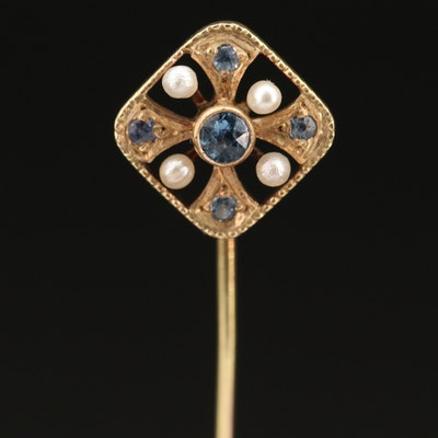 Vintage 10K Maltese Cross Stick Pin with Sapphire and Pearl Accents