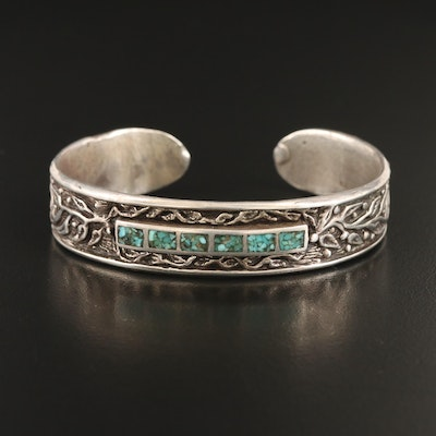 Sterling Inlayed Stone Patterned Cuff