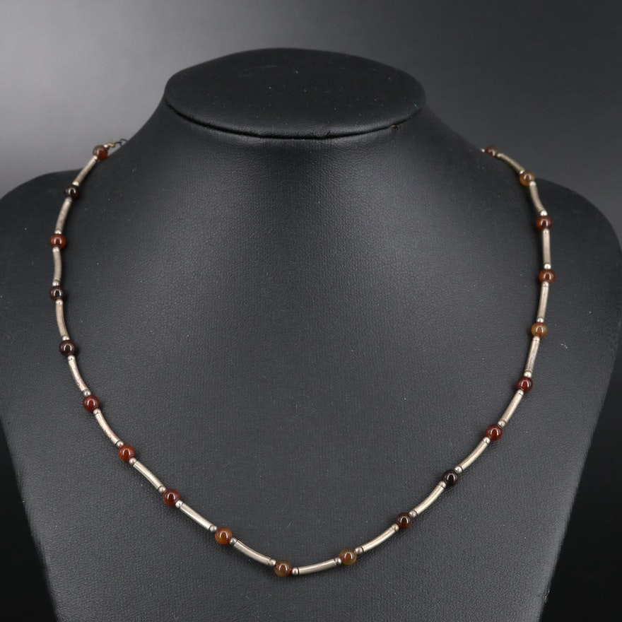 Sterling Agate Bead and Bar Link Necklace