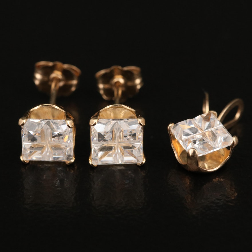 10K Cubic Zirconia Pendant and Earring Set