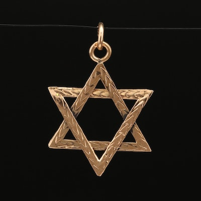 14K Textured Stair of David Pendant