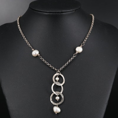 Sterling Necklace with Pearl Drop and Chain Extender