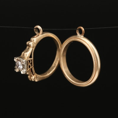 14K Diamond Ring and Band Charms