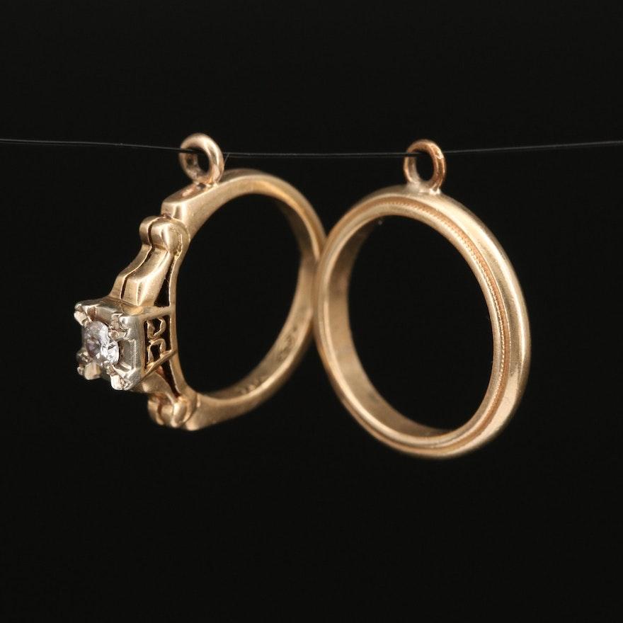14K Diamond Ring and Band Charms