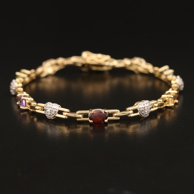 Sterling Amethyst, Topaz and Garnet Bracelet