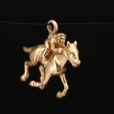 Vintage 14K Horse and Jockey Rider Charm
