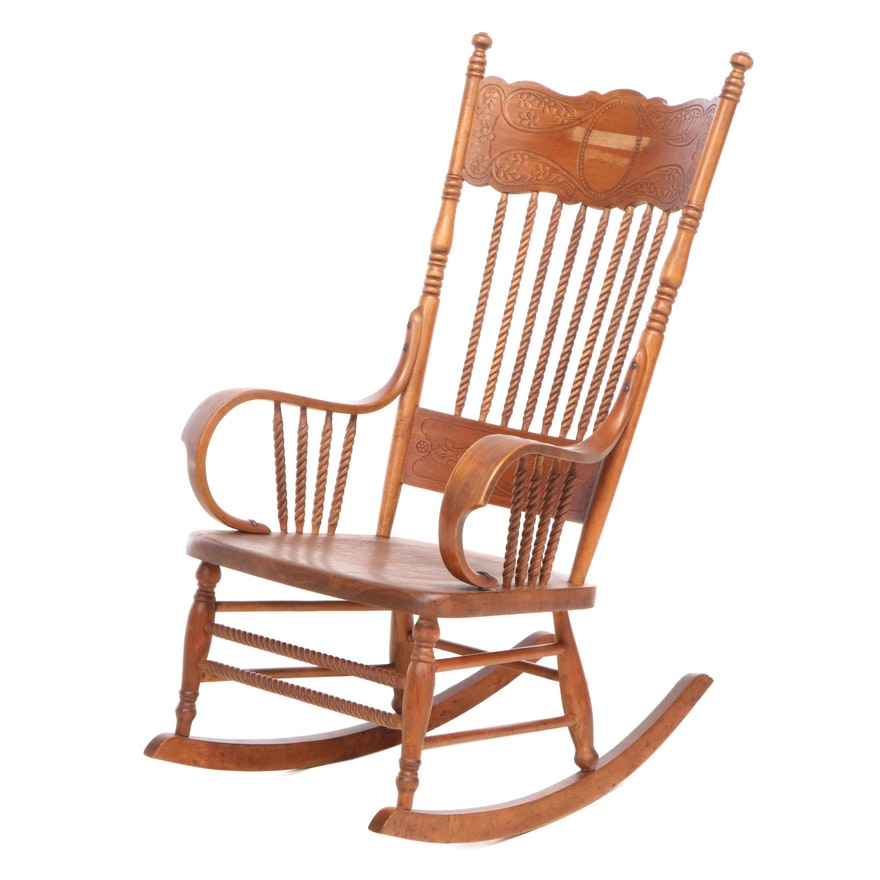 American Press and Spindle-Back Rocking Armchair, circa 1900