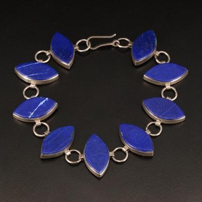 Sterling Lapis Lazuli Navette Link Bracelet