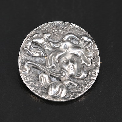 Art Nouveau Sterling Maiden Pin