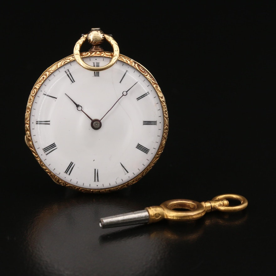 Antique Swiss 18K Gold and Enamel Key Wind Pocket Watch