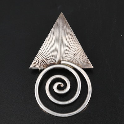 Signed Modernist Sterling Converter Brooch