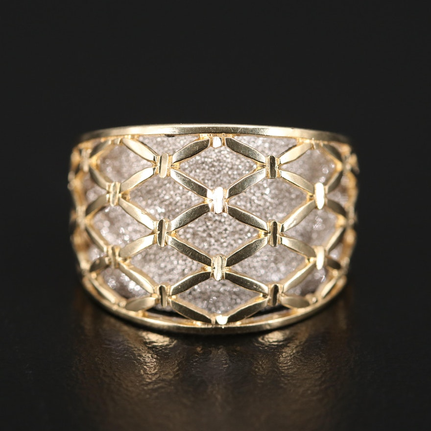 14K Two Tone Openwork and Textured Domed Band