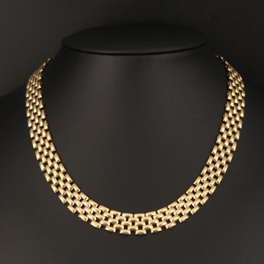 14K Panther Link Necklace