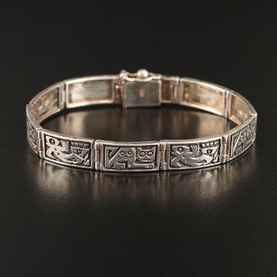Laffi Sterling Pre-Columbian Imagery Bracelet