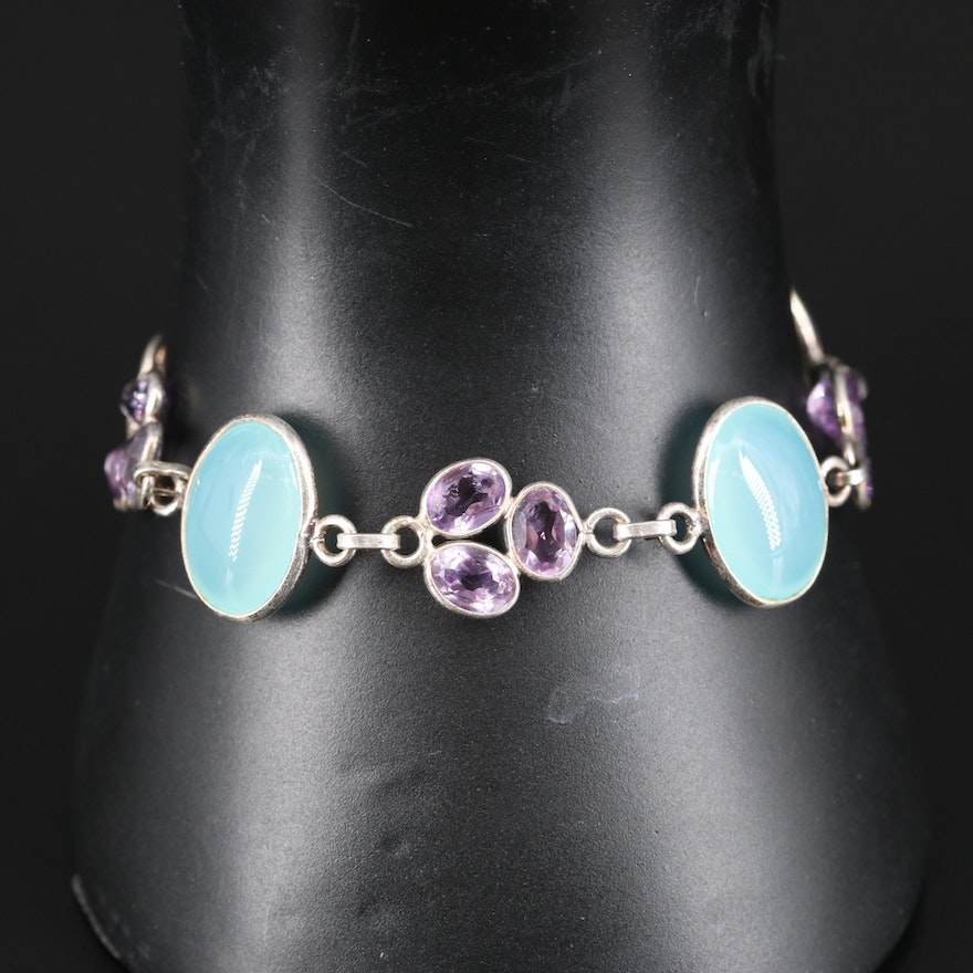 Sterling Amethyst and Chalcedony Bracelet