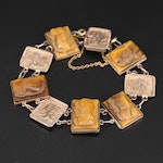 800 Silver Tiger's Eye Cameo and Chinese Character Panel Bracelet