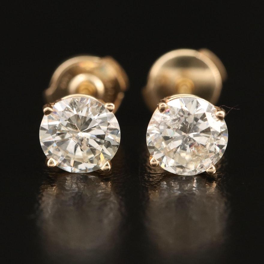 14K 1.85 CTW Diamond Stud Earrings