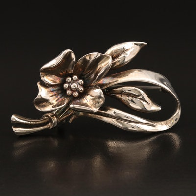 Vintage Alice Caviness Sterling Floral Brooch