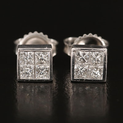 18K Diamond Square Stud Earrings