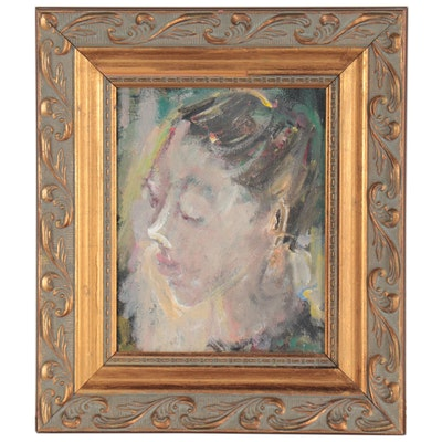 Impressionist Style Oil Portrait, Late 20th Century