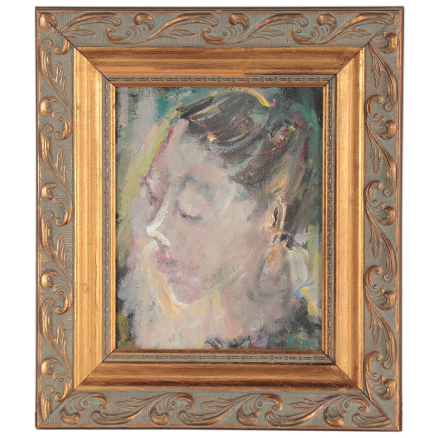 Impressionist Style Oil Portrait, Late 20th Century