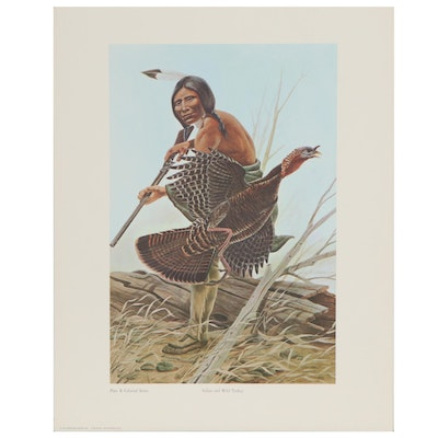 """Offset Lithograph after John A. Ruthven """"Indian and Wild Turkey,"""" 1970"""