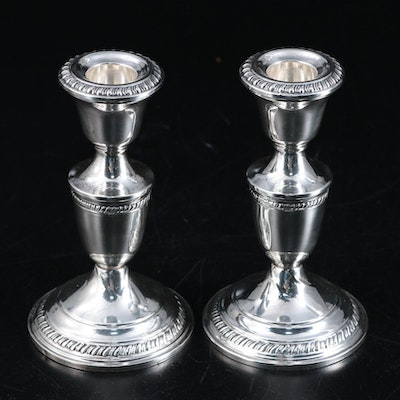 Crown Weighted Sterling Silver Gadroon Rimmed Candlesticks