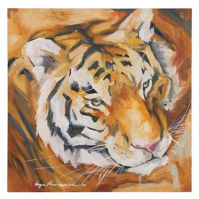 Inga Khanarina Oil Painting of Tiger, 2021