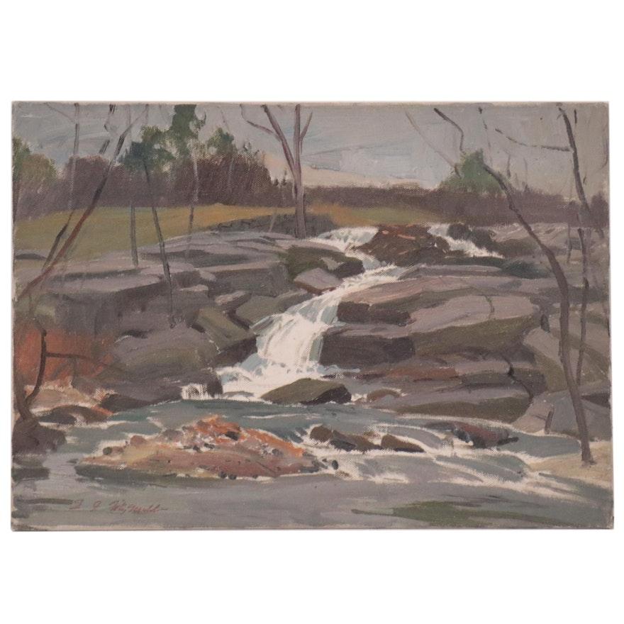 "Edmond J. Fitzgerald Oil Painting of ""Larchmont, NY"""