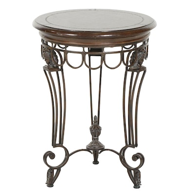 Maitland Smith Iron Based Side Table with Leather Embossed Top